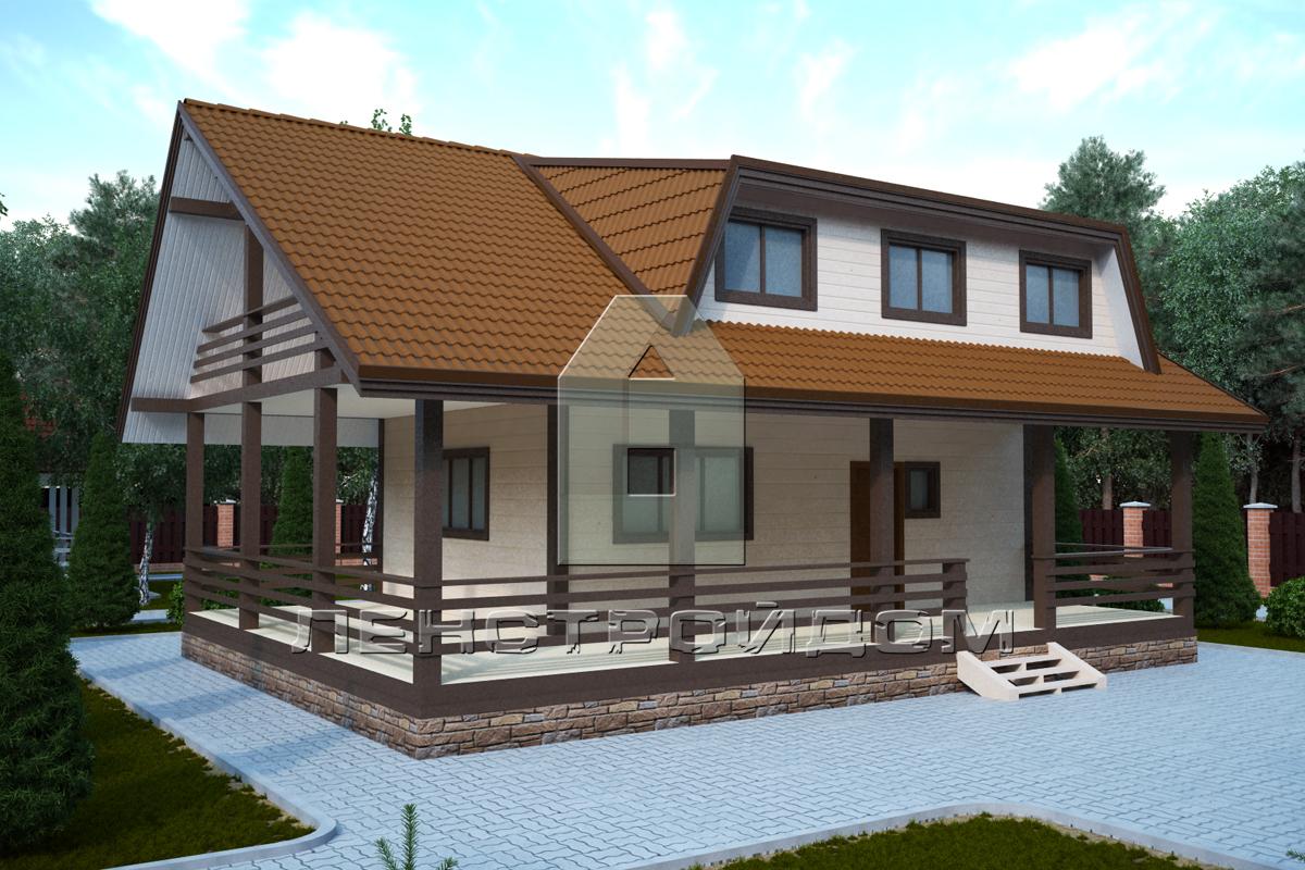 Загородный дом с гаражом проект № R-293-1K